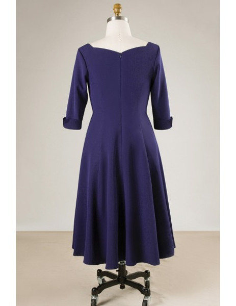 Plus Size Women Navy Blue Mother Of The Brides Dress With Sleeves