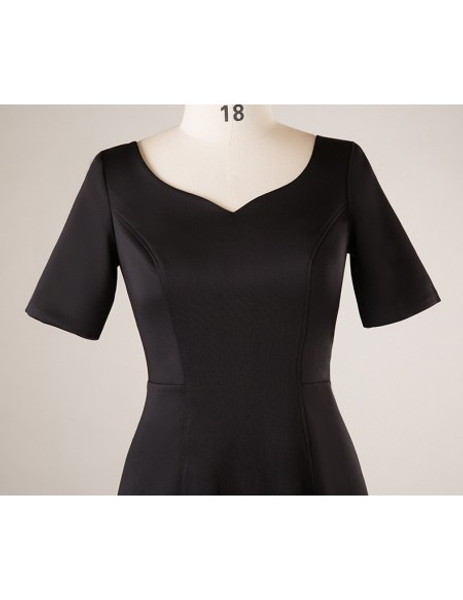 Plus Size Short Sleeve Black Mother Of The Brides Dress
