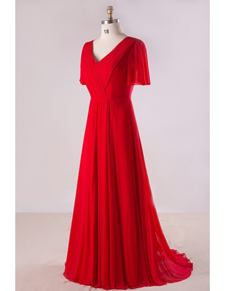 Plus Size Flowing Red Chiffon Mother Of The Brides Dress