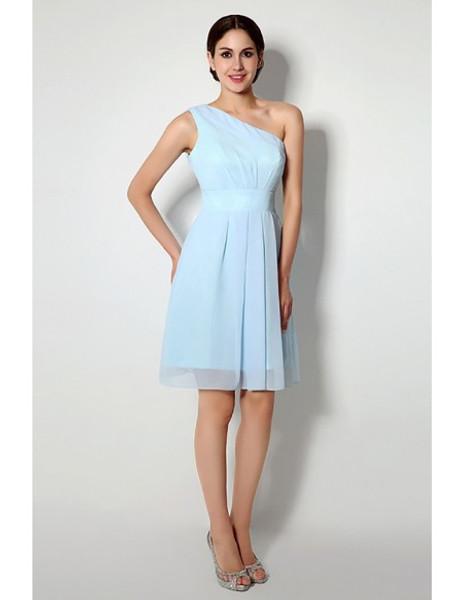 a4d1461baa622 Light Sky Blue One Shoulder Short Bridesmaid Dress