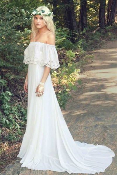 Straps Lace Top Split Long Blush Two Piece Prom Dress With Pocketshttps://www.annakoo.com/sexy-cheap-bohemian-off-the-shoulder-boho-beach-wedding-dress/