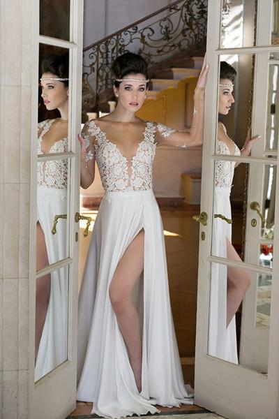 V-neck Chiffon Long Sleeve Sexy Slit Bridal Simple Wedding Dress