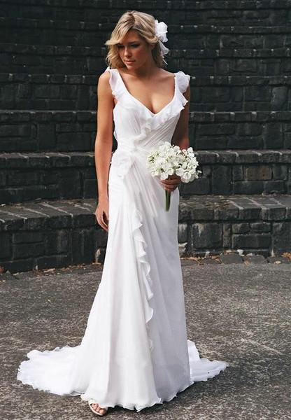Backless Chiffon Summer Beach Ruffles Sleeveless Wedding Dress