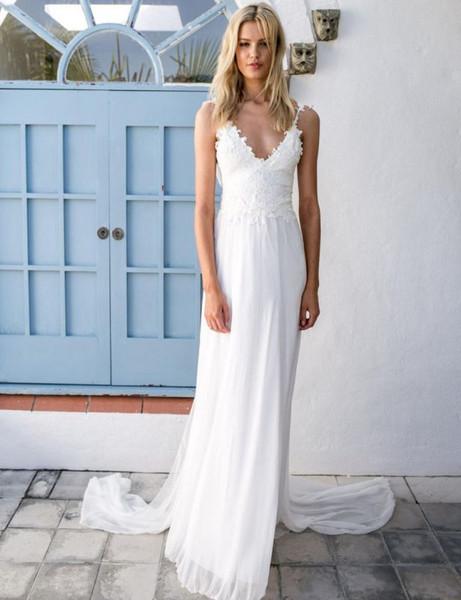 Backless Beach Lace Chiffon Summer Bridal Wedding Dress with Sash