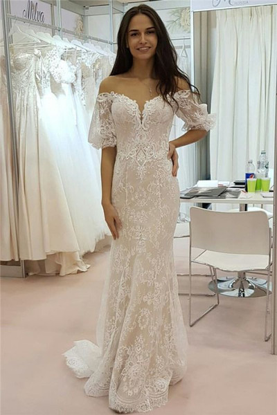 Tulle Lace Strapless Sweetheart Short Sleeve Cheap Wedding Dress