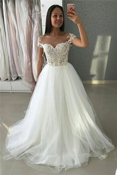 A-Line Tulle Lace Appliques Cap Sleeves Wedding Dress