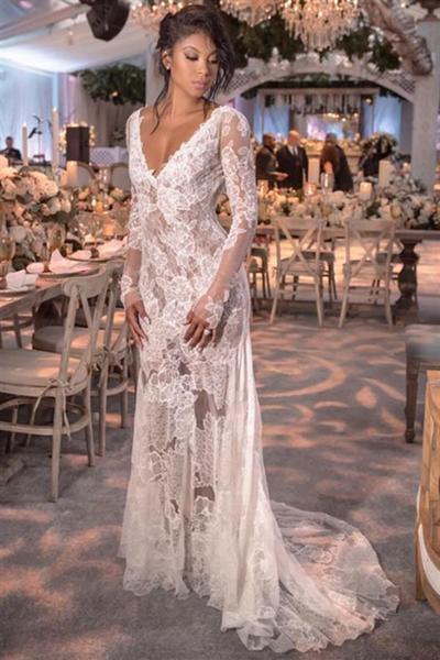 Long Sleeve V-neck Lace Open Back See Through Wedding Dress
