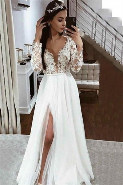 A-line Lace Appliques V-neck Side Split Long Sleeve Wedding Dress