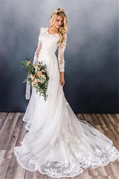 Appliques A-line Ruffles Scoop Sweep Train Lace Long Sleeve Wedding Dresses