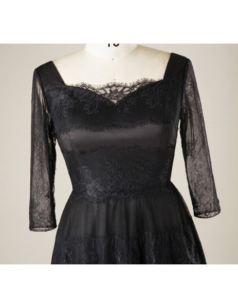 Lace Sleeves Short Black Lace Plus Size Mother Of The Brides Dress