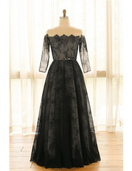 d88871b3b Off Shoulder Long Black Lace Plus Size Mother Of The Brides Dress