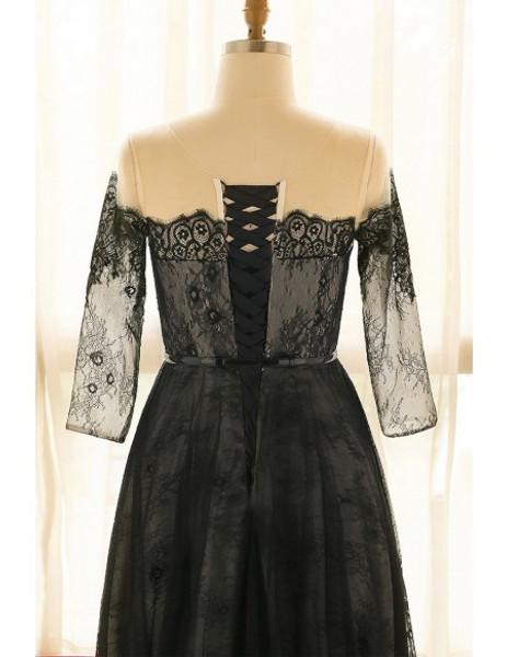 Off Shoulder Long Black Lace Plus Size Mother Of The Brides Dress