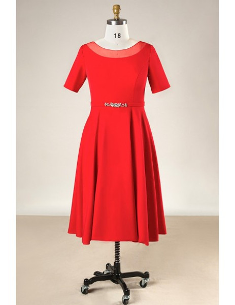Plus Size Simple Short Red Mother Of The Brides Dress With Sleeves