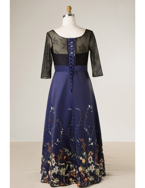 9a1f84f1e5a Plus Size Black With Navy Blue Floral Print Mother of The Brides Dress With  Sleeves