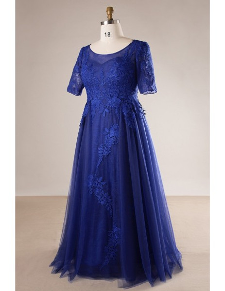 Plus Size Royal Blue Long Mother Of The Brides Dress With Sleeves