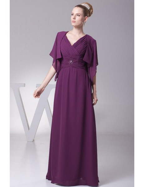 52ac75d1477 V Neck Grape Mother Of The Brides Dress with Sleeve Jacket