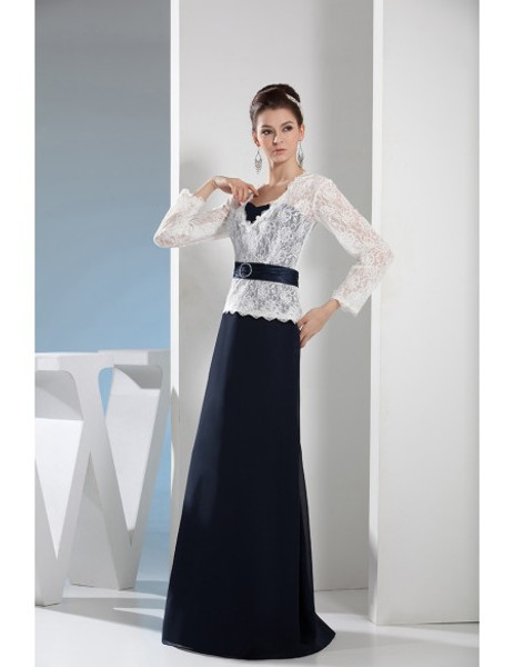 526a616f394 Navy Sweetheart Long Chiffon Mother of the Bride Dress