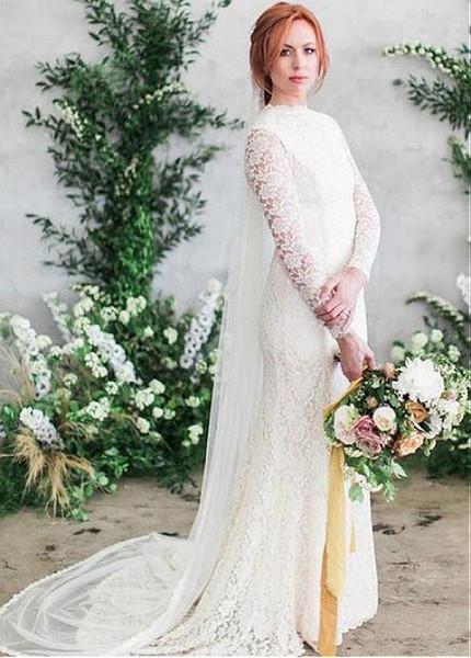 Delicate Lace High Collar Long Sleeve Mermaid Wedding Dress