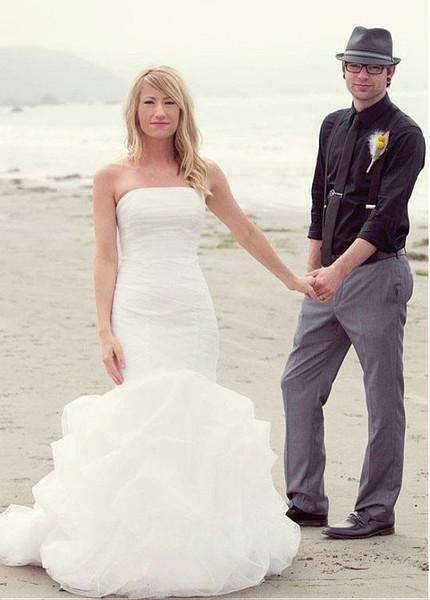 Tulle Strapless Ruffles Simple Mermaid Wedding Dress