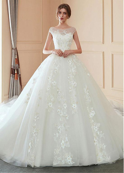 Tulle Bateau 3d Flowers Ball Gown Wedding Dress With Lace Appliques,Summer Floral Dresses For Weddings