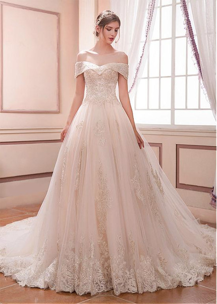 Long Tulle Off-the-shoulder Beaded A-line Wedding Dress