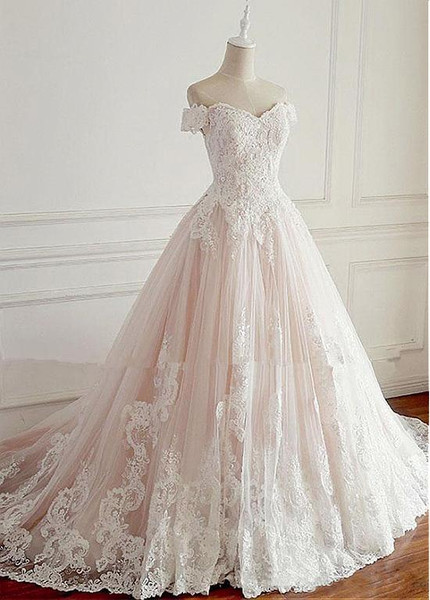 Beading Appliques Tulle Off-the-shoulder A-line Wedding Dress