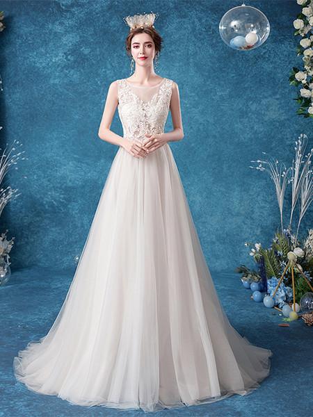 Scoop A Line Sheer Back Applique Tulle Wedding Dress