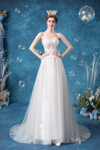 Sweetheart A Line Sheer Back Lace Tulle Wedding Dress