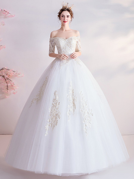 Half Sleeve Ball Gown Appliques Lace Up Tulle Wedding Dress