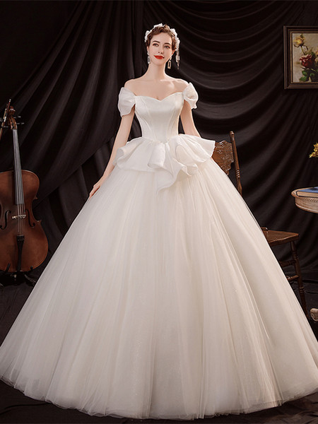 Puffy Sleeves Tulle Satin Ball Gown Ruffles Off The Shoulder Wedding Dress