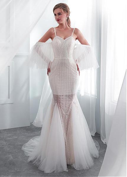 See Through Wedding Dresses.Spaghetti Straps See Through Mermaid Wedding Dress With Wrap