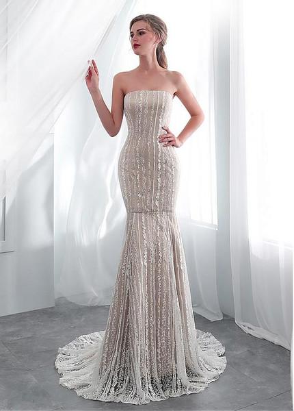 8da6f5ddafc3 Simple Lace Strapless Long Mermaid Wedding Dress