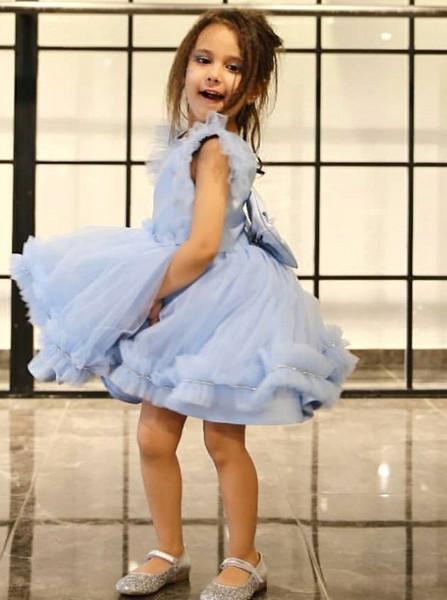 33980e37a5b66 Cute Little Ruffles Bowknot Light Blue Flower Girl Dress