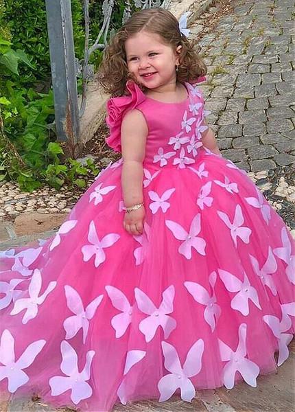 ae44319cf1b44 Handmade Butterflies Pink Scoop Ball Gown Flower Girl Dress