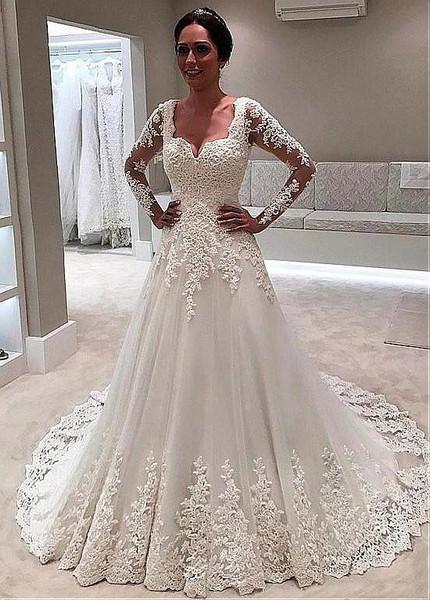 Long Sleeve Tulle Sweetheart Beading A Line Wedding Dress,Golden Wedding Anniversary Dresses