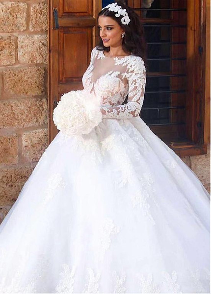 Illusion Long Sleeve Appiques Tulle Bateau Ball Gown Wedding Dress