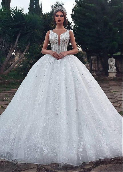 c55ef98617e Sequin Tulle Scoop Sparkle Ball Gown Wedding Dress