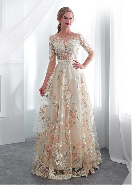 d1af1a7aa4376 Lace Bateau 3/4 Sleeves Color Floral A-line Wedding Dress With Belt