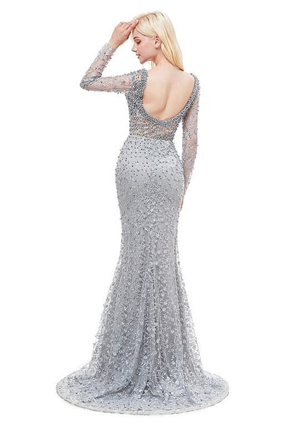 9e434d0ef15f Lace Bateau Silver Long Sleeve Beading Mermaid Formal Dress