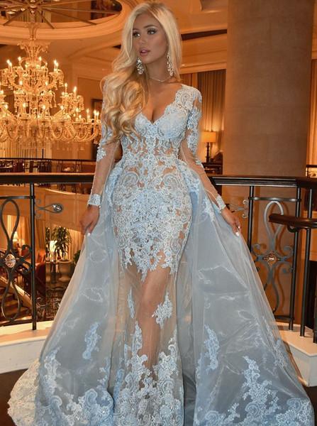 ea9bc39e9e Blue Lace Mermaid V-neck Long Sleeves Prom Dress With Detachable Train