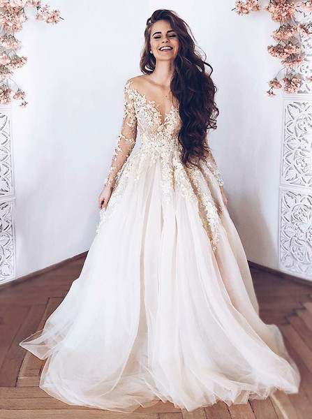 f8780f1f43 Champagne Appliques Tulle A-Line Illusion Long Sleeves Light Wedding Dress