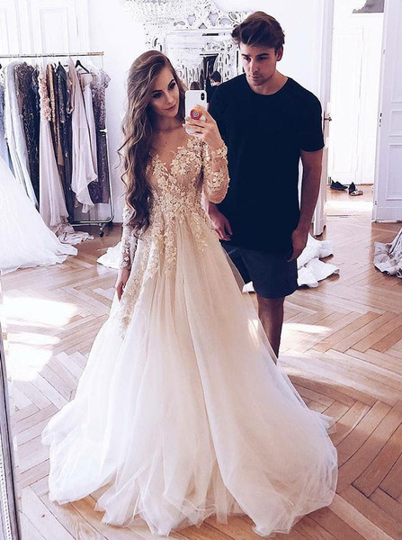 508e5bd46 Champagne Appliques Tulle A-Line Illusion Long Sleeves Light Wedding Dress