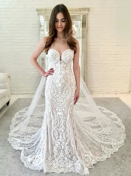 85e79685145 Sexy Court Train Mermaid Sweetheart Lace Wedding Dress