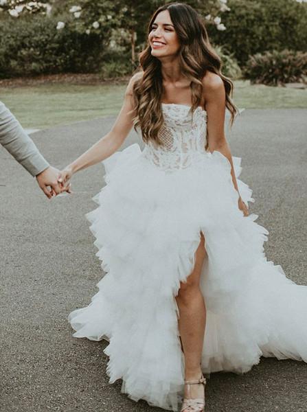 Split Asymmetric A-Line Strapless Wedding Dress With Appliques