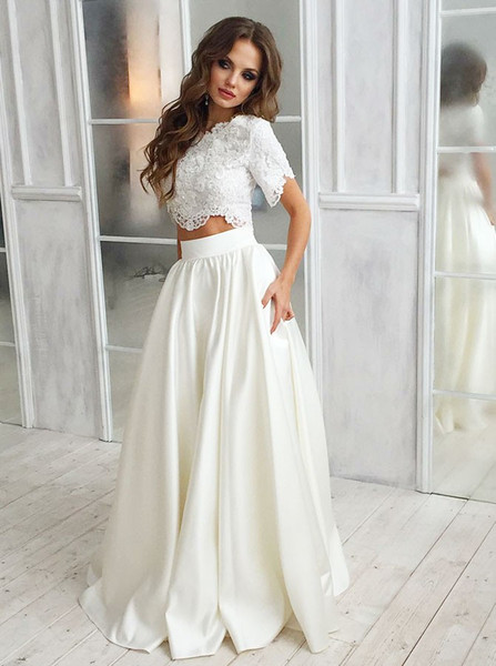 Two Piece Round Neck Lace Top Short Sleeves Satin Wedding Dress