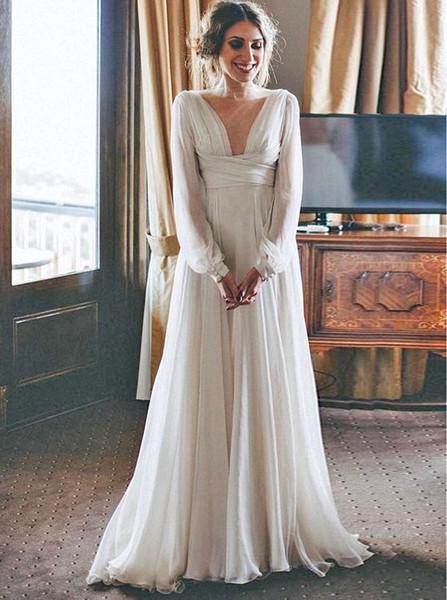 945246b7dec9 Long Sleeve A-Line V-Neck Chiffon Beach Wedding Dress