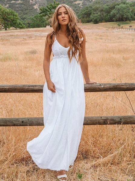 46f6c1916b Lace Spaghetti Straps Backless Long Beach Wedding Dress