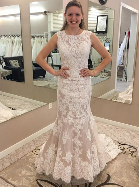 454cf2d3ceb Appliques Illusion Back Lace Mermaid Round Neck Wedding Dress