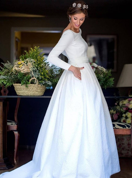 433e7dc284ac Long Sleeve A-Line Round Neck Backless Satin Wedding Dress