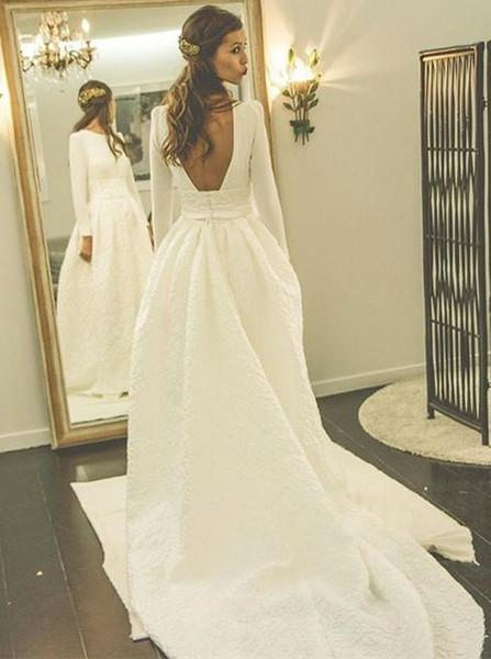 Long Sleeve Satin Wedding Dress